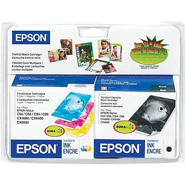 Epson 44, Black and Color Ink Cartridges, C/M/Y/K 4-Pack (T044120-BCS)