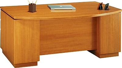 Bush Business Furniture Milano2 72W Bow Front Office Desk with 2 Pedestals, Golden Anigre (50DBF72GAK)