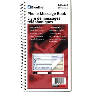 Blueline® - Livret de messages téléphoniques, 5-11/16 po x 11 po, 400 messages, bilingue