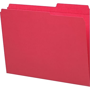Staples® Guide-Height Colored Reinforced File Folders, Letter, Red, 100/Box