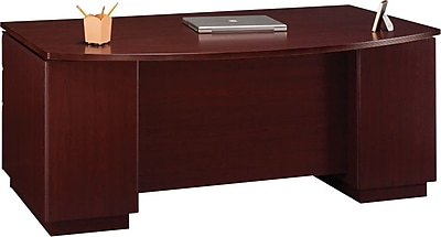 BBF Milano2 Series Double-Pedestal Bow-Top Desk, Harvest Cherry, 29 5/8