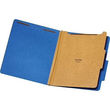 Staples® Brightly Colored Classification Folders, Letter, Blue, 2/5-Cut Tabs, 1 Partition, 5/Pack (98519S)