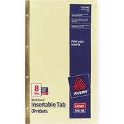 "Avery WorkSaver® Insertable Tab Dividers, 8 1/2"" x 14"", 8-Tab, Clear"
