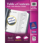 Avery® 15-Tab Ready Index® Classic Black & White Table of Contents Dividers