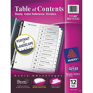 Avery® 12-Tab Ready Index® Classic Black & White Table of Contents Dividers