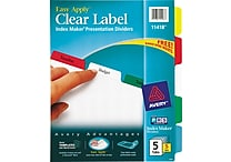 Avery® Index Maker Clear Label Tab Dividers, 5-Tab, Multicolor, 5 Sets/Pack