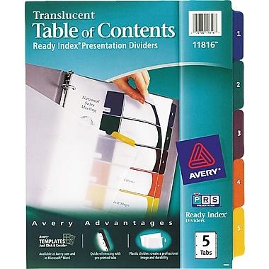 Avery® Translucent Plastic Dividers, 5-Tab