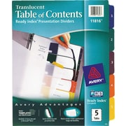 Avery® Translucent Plastic Dividers, 5-Tab