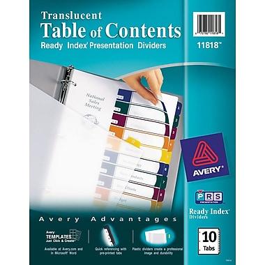 Avery® Translucent Plastic Dividers, 10-Tab