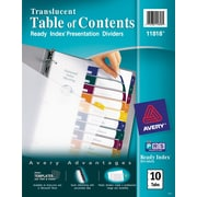 Avery® Translucent Plastic Dividers, 10-Tab