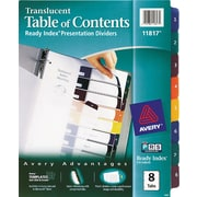 Avery® Translucent Plastic Dividers, 8-Tab
