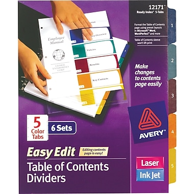 Avery® Ready Index® Easy Edit Table of Contents 6 Sets/Pack