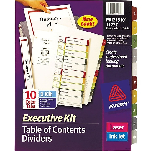 Avery Ready Index Multicolor Table Of Contents Dividers 10 Tab