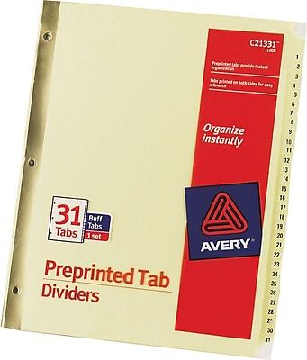 Avery Preprinted Laminated Tab Dividers, Buff Paper, 1-31 Tab, 31-Tab Set (11308)
