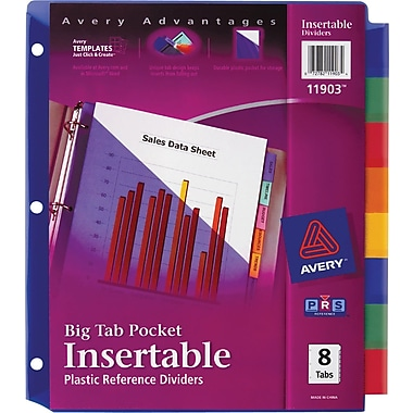 8 large tab insertable dividers template - 83 staples big tab insertable dividers 8 clear 4 pack