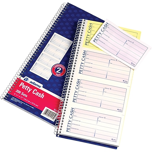 adams carbonless two part petty cash book 5 x 11 200 sheets