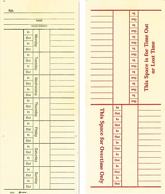 Adams® Double-Sided Time Cards, Model 9660, 3 3/8