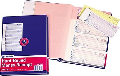 Adams® Carbonless Hardbound Receipt Books, 7-5/8