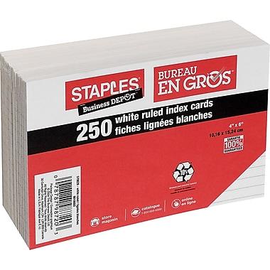 Staples® - Fiches blanches lignées, 4 po x 6 po