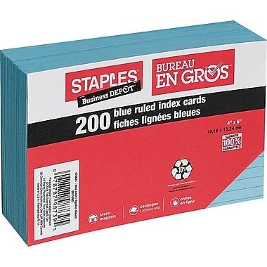 Staples® - Fiches bleues lignées, 4 po x 6 po