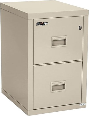 Fire King 1-Hour Fire Resistant Vertical File Cabinet, Letter/Legal, 2-Drawer, Parchment, 22 1/8