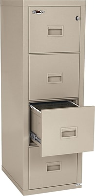 FireKing 1-Hour Fire Resistant Vertical File Cabinet, Letter/Legal, 4-Drawer, Parchment, 22 1/8