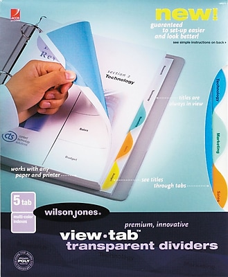 Wilson Jones 5-Tab Multi-Color Set, Round Tab