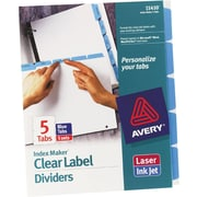 Avery Index Maker® White Dividers with Color Tabs for Laser and Inkjet Printers, 5-Tab, Blue