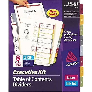 Avery® Ready Index Multicolor Table of Contents Dividers, 8-Tab