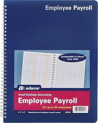 Adams® Employee Payroll Record Book, 8-1/2