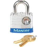 "Master Lock® Four-Pin Tumbler Lock, Laminated Steel Body, 1 1/2"" Wide, Silver/Blue, Two Keys"