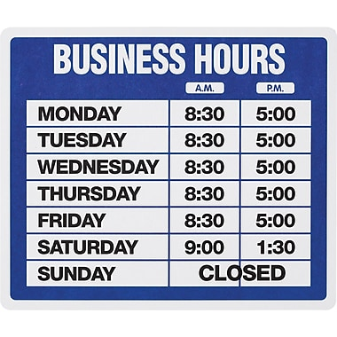 US Stamp & Sign Business Hours Sign Kit, 10-1/2