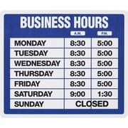 "US Stamp & Sign Business Hours Sign Kit, 10-1/2"" x 14-1/4"", English"