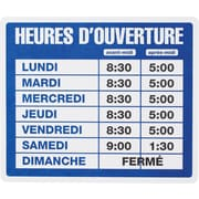"US Stamp & Sign Business Hours Sign Kit, 10-1/2"" x 14-1/2"", French"