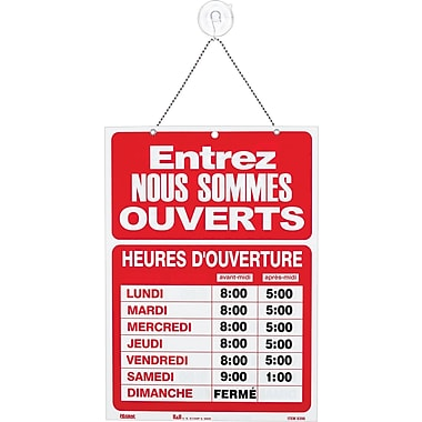 US Stamp & Sign Business Hours Sign Kit with Ouvert/Fermé, 10-1/2