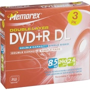 Memorex 3/Pack 8.5GB Double Layer DVD+R DL, Jewel Cases