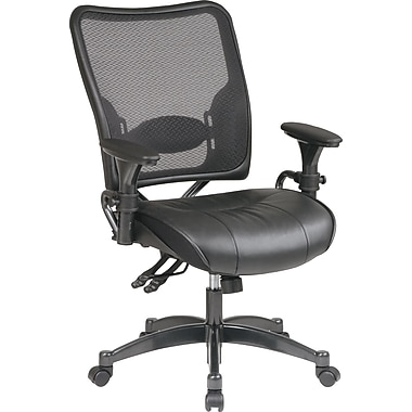 Office Star SPACE Leather Executive Office Chair, Adjustable Arms, Black (6876)
