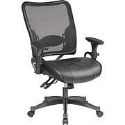 """Office Star Space Professional Ergonomic Air Grid Chair with Black Leather Seat, Seat: 21 1/2""""W x 21""""D, Back: 21""""W x 24""""H"""