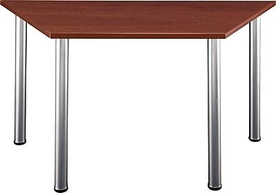 Bush Business Aspen 57W x 24-3/4D Trapezoid Table, Hansen Cherry