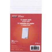 "Staples® Figuring Pads, 5"" x 8"", Narrow-Ruled, 50 Sheets, 12/Pack"