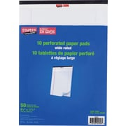 "Staples® Perforated Writing Pads, 8-1/2"" x 11"", Wide-Ruled, White, 10/Pack"
