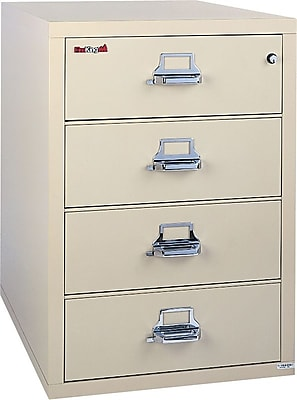 FireKing 1-Hour Fire Resistant Lateral File Cabinet, Letter/Legal, 4-Drawer, Parchment, 22 1/8