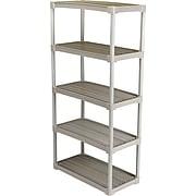 """Contico Plastic Shelving, 5 Shelves, Beige, 72""""H x 36""""W x 18""""D"""