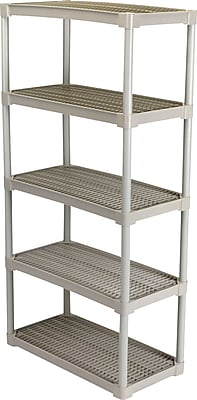 Contico Plastic Shelving, 5 Shelves, Beige, 72