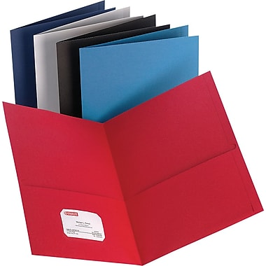Staples® 2-Pocket Folders, Leather-like Texture