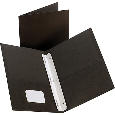 Staples® 2-Pocket Folder with Fasteners, Black