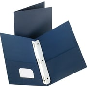 Staples® 2-Pocket Folder with Fasteners, Dark Blue