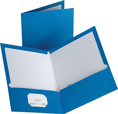 Staples® 2-Pocket Laminated Folders, Light Blue, 10/Pack