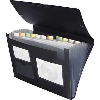 Staples 13 Pocket Plastic Expanding File, Letter, Black, Each