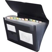 Staples 13 Pocket Plastic Expanding File, Letter, Black, Each
